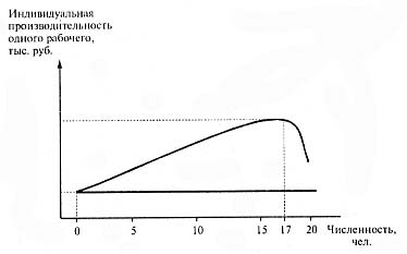 Рисунок 2. Характер изменения производительности труда на мебельном предприятии с увеличением численности рабочих