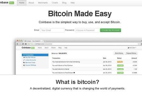 Сайт компании Coinbase